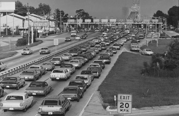 1970s Rush Hour Arlington Expressway Going To Matthews Bridge In