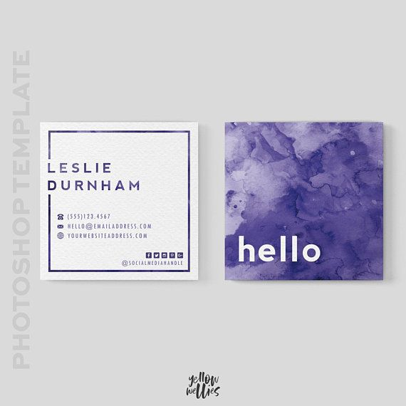 Square Business Card Template Square Moo Card 3x3 Business Watercolor Business Cards Business Card Design Square Business Cards