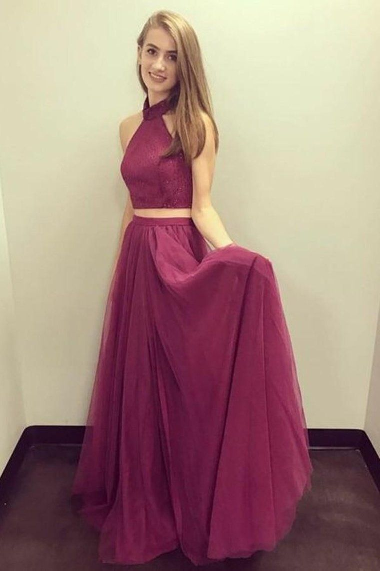 Photo of Cute Halter 2 Pieces Elegant Flowy Long Prom Dresses Pretty Party