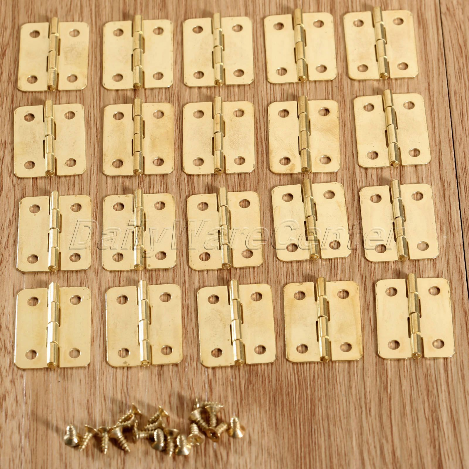 Gold Mini Hinges Kit Jewelry Box Tiny Miniature Furniture Cabinet