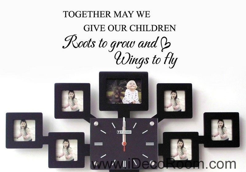 Give Roots to grow and Wings to fly Wall Quotes Kids Sticker Nursery Art Decor