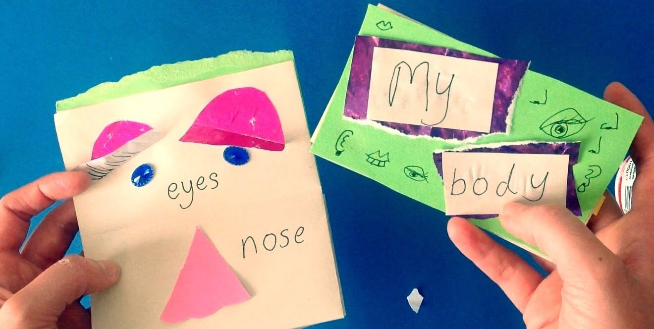 Children 39 S Book Making Craft My Body Face Parts Arts Activity Kindergarten Youtube Kindergarten Art Activities Book Making Kindergarten Crafts