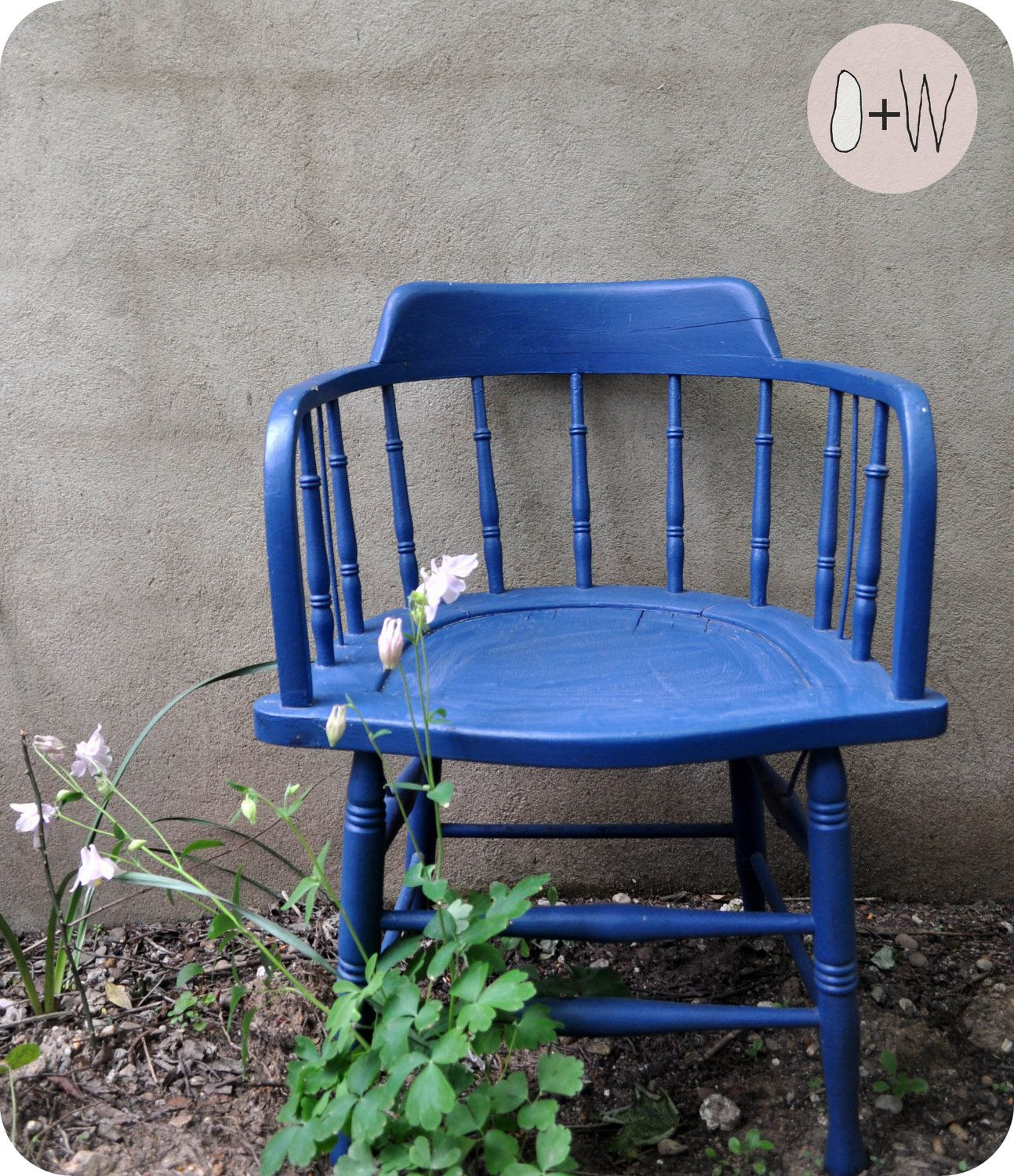 Vintage Blue Captains Chair $120 00 via Etsy