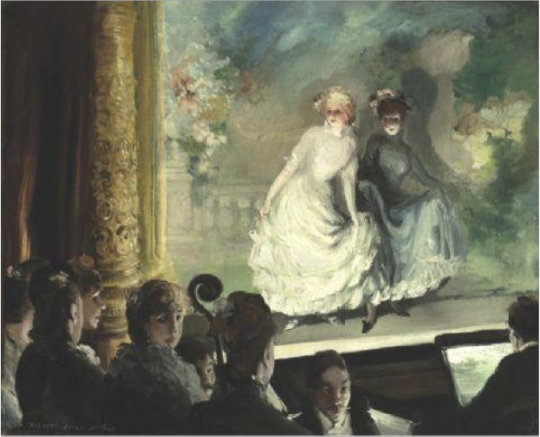 A French Music Hall (1906). Everett Shinn (American, 1876-1953). Oil on canvas. Crystal Bridges Museum of American Art.  Shinn's fascination with the artifice and spectacle of the stage manifests itself in his dynamic theater paintings. In A French Music Hall, we peer over the shoulders of the audience as if attending the performance while a female spectator turns to confront us. Shinn's theater subjects like this one have an unusual perspective, strong contrasts of light and shadow.