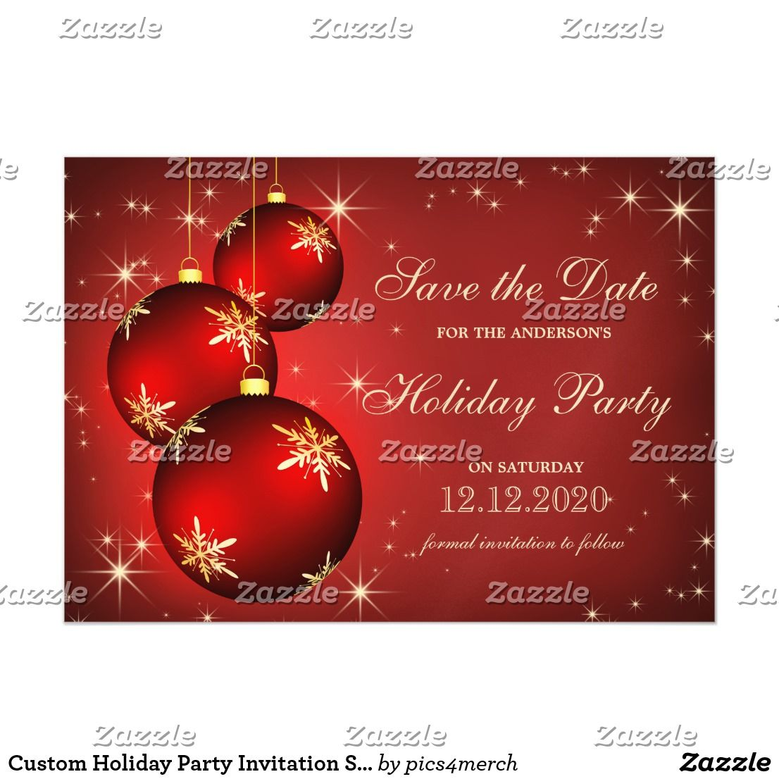 Custom Holiday Party Invitation Save The Date These custom Holiday ...
