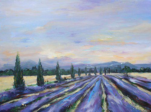original gem lde kunst bild auf leinwand landschaft provence lavendel. Black Bedroom Furniture Sets. Home Design Ideas