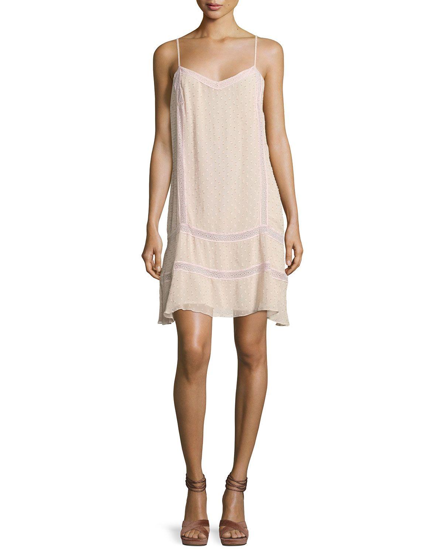 Tia Chiffon Dobby Short Dress, Light Pink