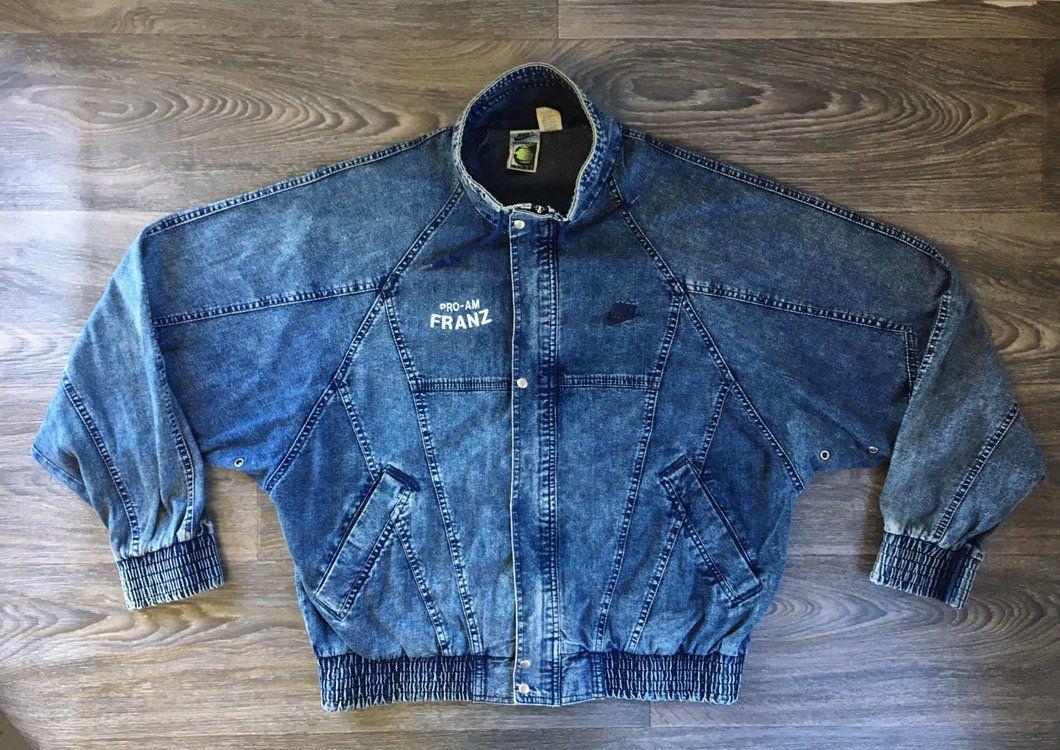 cd3a6ba0 NIKE Denim Jacket 80s Vintage CHALLENGE COURT RaRE!!! Acid Wash Jean Bomber  Tennis Andre Agassi Coat Full Zip Men Medium by sweetVTGtshirt on Etsy