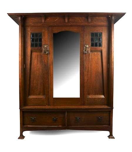 Harris Lebus London Oak Wardrobe Circa 1900 The