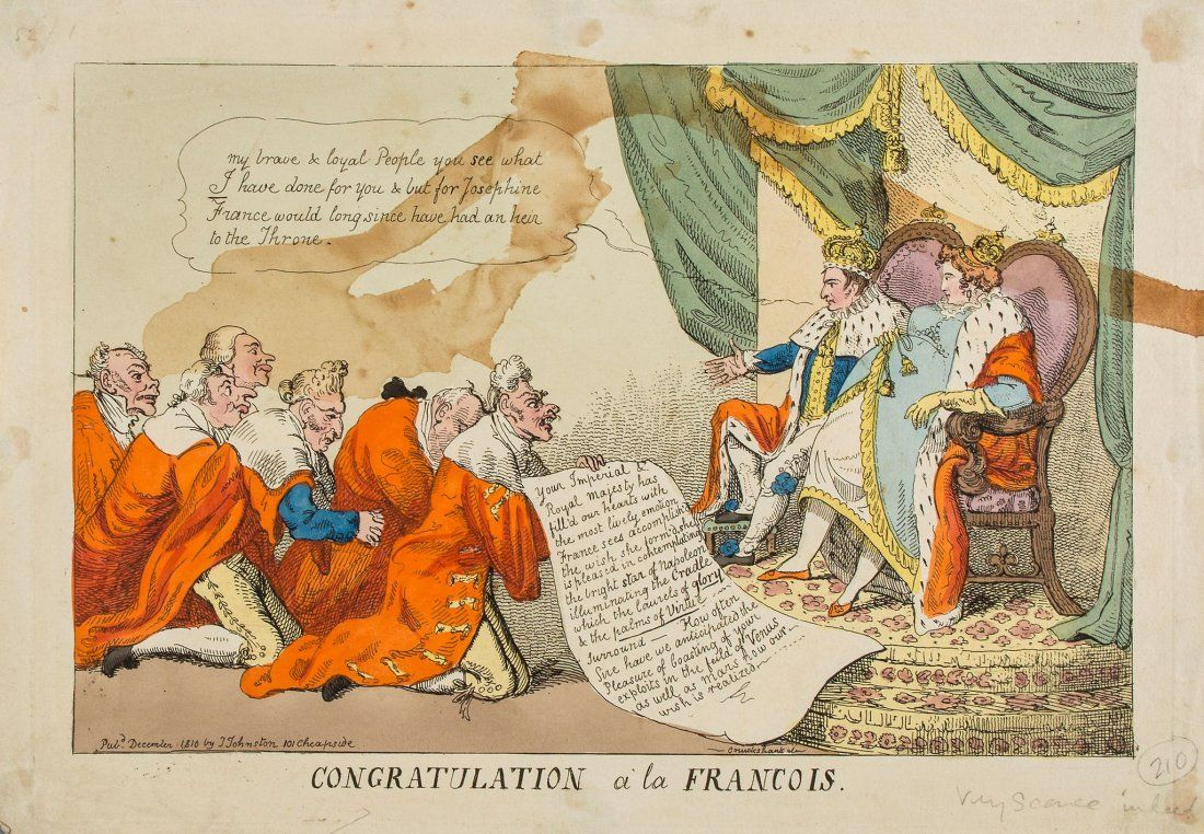 Satire by Isaac Cruikshank, from December 1810, on the pregnancy of Empress Marie Louise, as kneeling courtiers flatter Napoleon on his prowess on the fields of both Venus and Mars, while he blames Josephine for the delay in providing France with an heir.