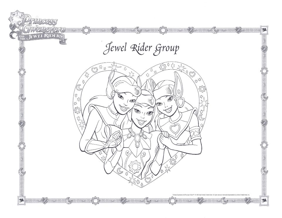 Jewel Riders Group Coloring Page Princess Gwenevere And The Jewel Riders Coloring Pages Coloring Pages For Girls Rider