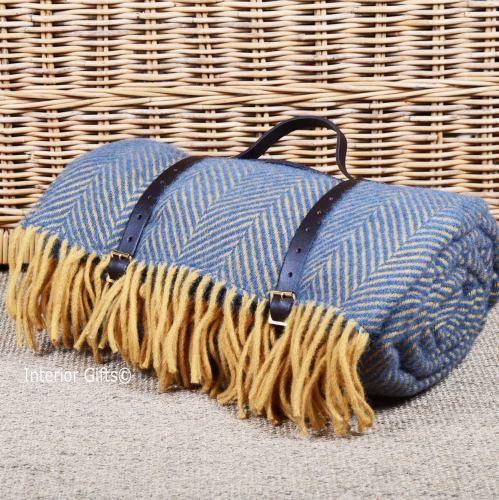 """Luxury Wool Picnic BlanketLeather CarrierWaterproofLarge 78/"""" x 59/"""""""
