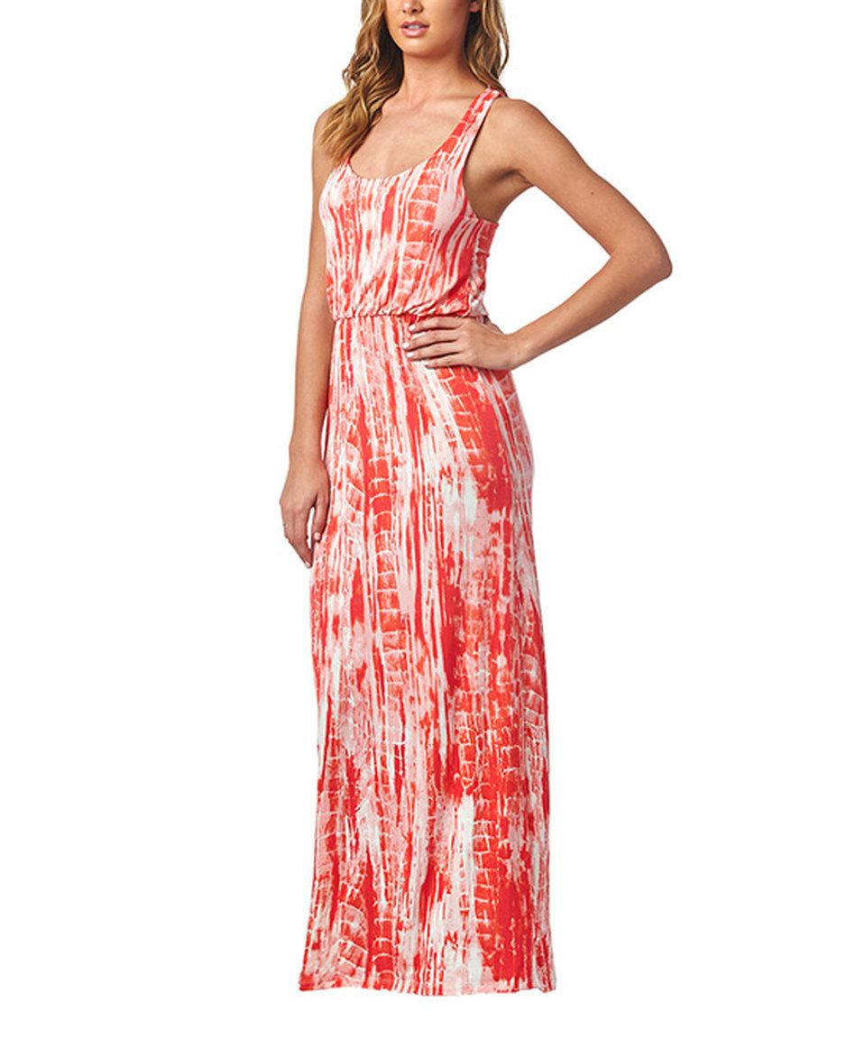 Look at this #zulilyfind! Popana Coral Tie-Dye Racerback Maxi Dress ...