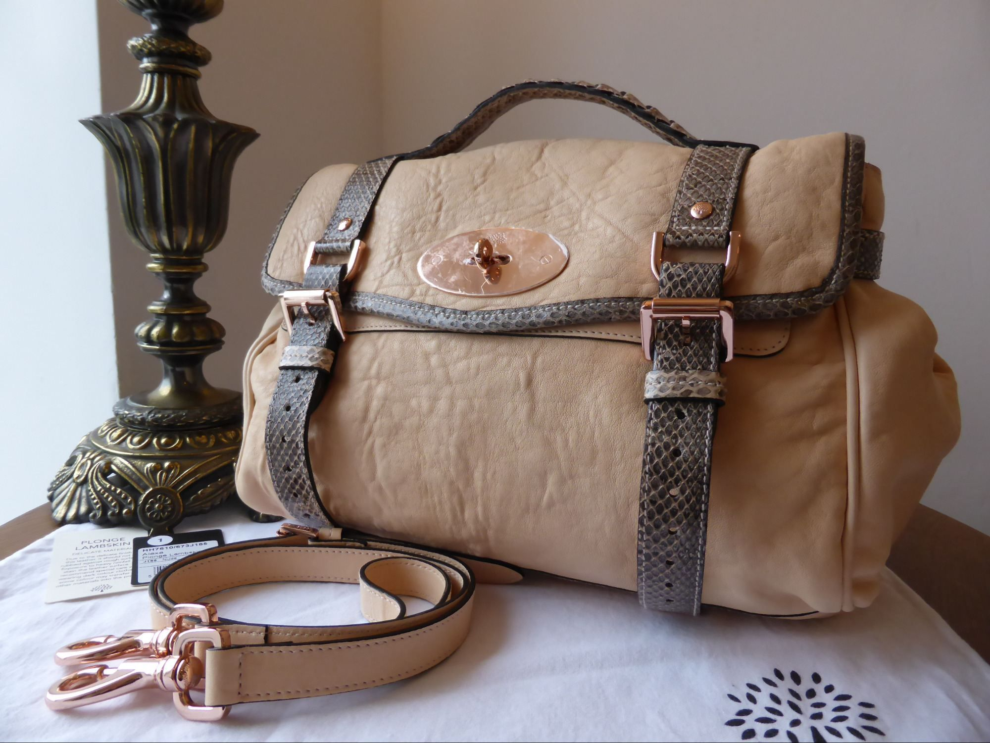 54aa30a308 Mulberry Alexa Regular in Nude Plonge Lambskin with Python Trim  gt  http