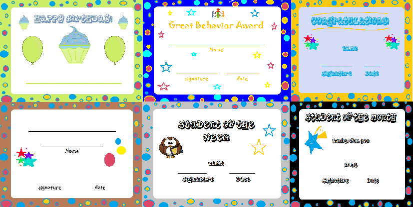 Classroom Reward Certificates Set Certificate Classroom
