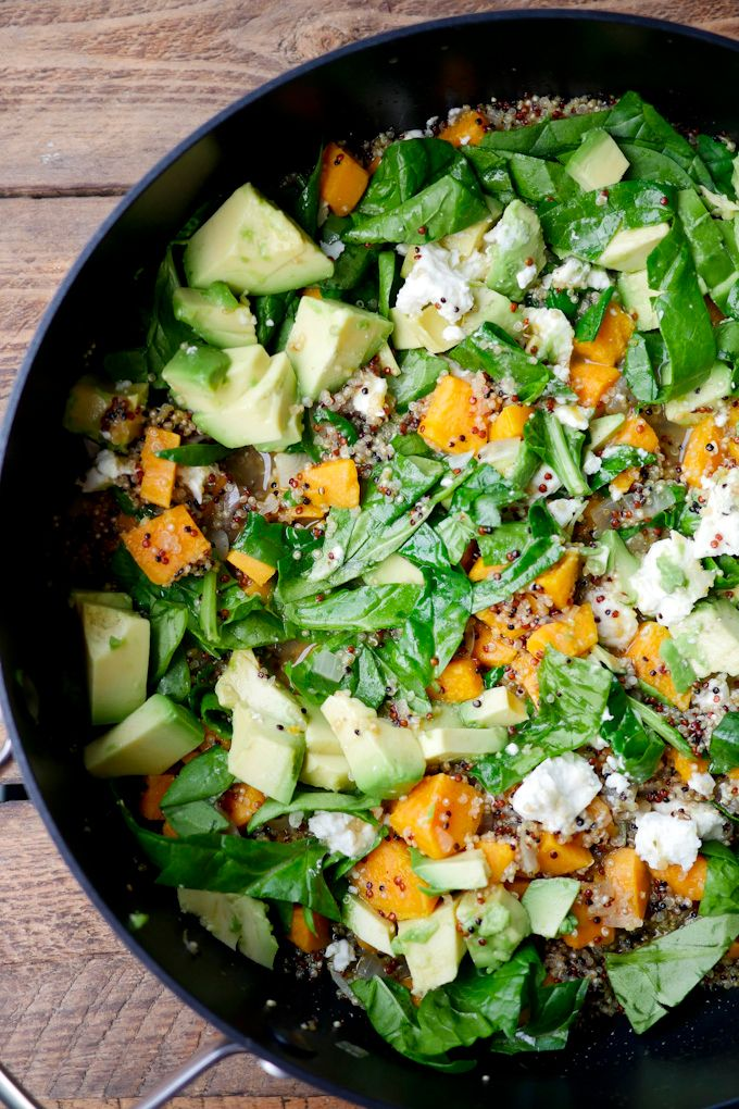 Photo of One pot quinoa with spinach and sweet potatoes