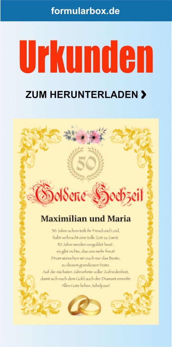 Urkunde Goldene Hochzeit Hochzeit Hochzeitstag Goldene Hochzeit
