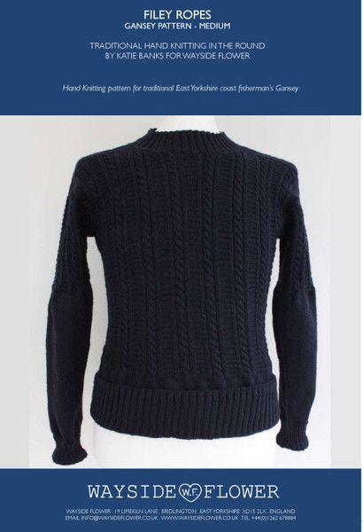 99768ead9e17c3 Wayside Flower Filey Rope Gansey pattern hand knitting Medium ...
