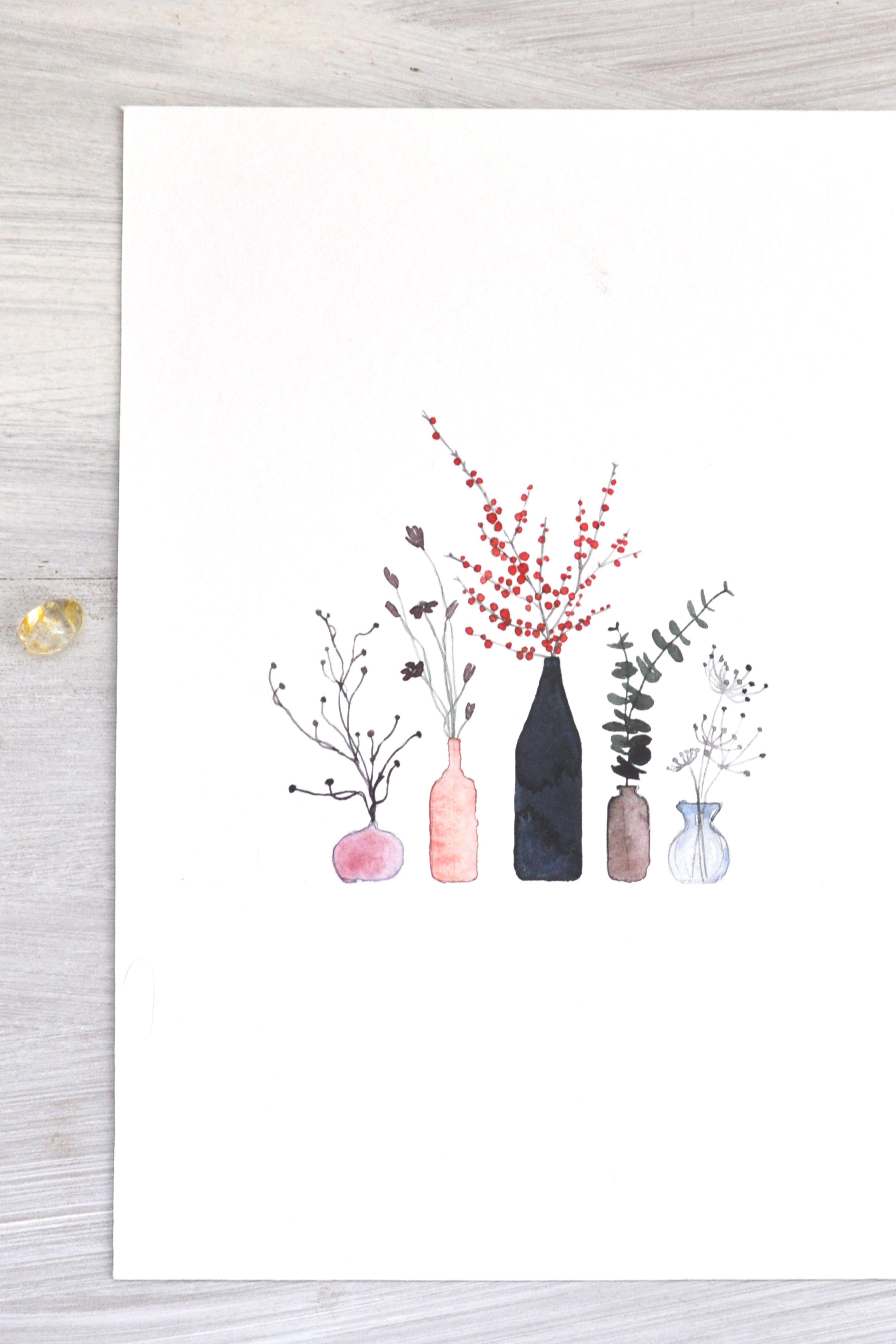 5 petits vases // Baies rouges - Leaubleue