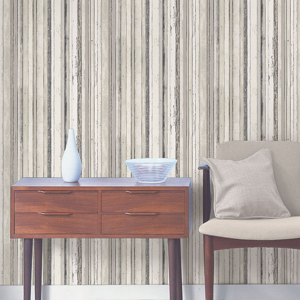 Fine Décor Grey Wood Effect Wallpaper