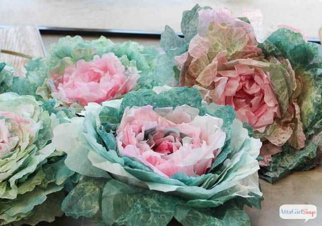 These colorful spring cabbages are made from coffee filters coffee filter crafts learn how to make these realistic cabbage roses out of coffee filters mightylinksfo
