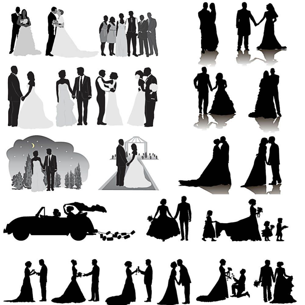 Silhouettes Of Wedding Couple And Ceremonies Vector Free Download Ai Eps Format Wedding Silhouette Wedding Couple Poses Wedding Couples Wedding party silhouette free template
