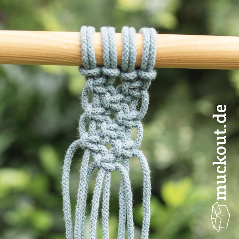 Versetzte Kreuzknoten | Alternating Square Knots | Makramee-Grundtechniken #macrame
