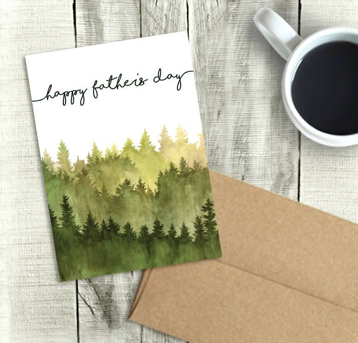 Happy Father S Day Card Digital Printable Watercolor Forest Pdf