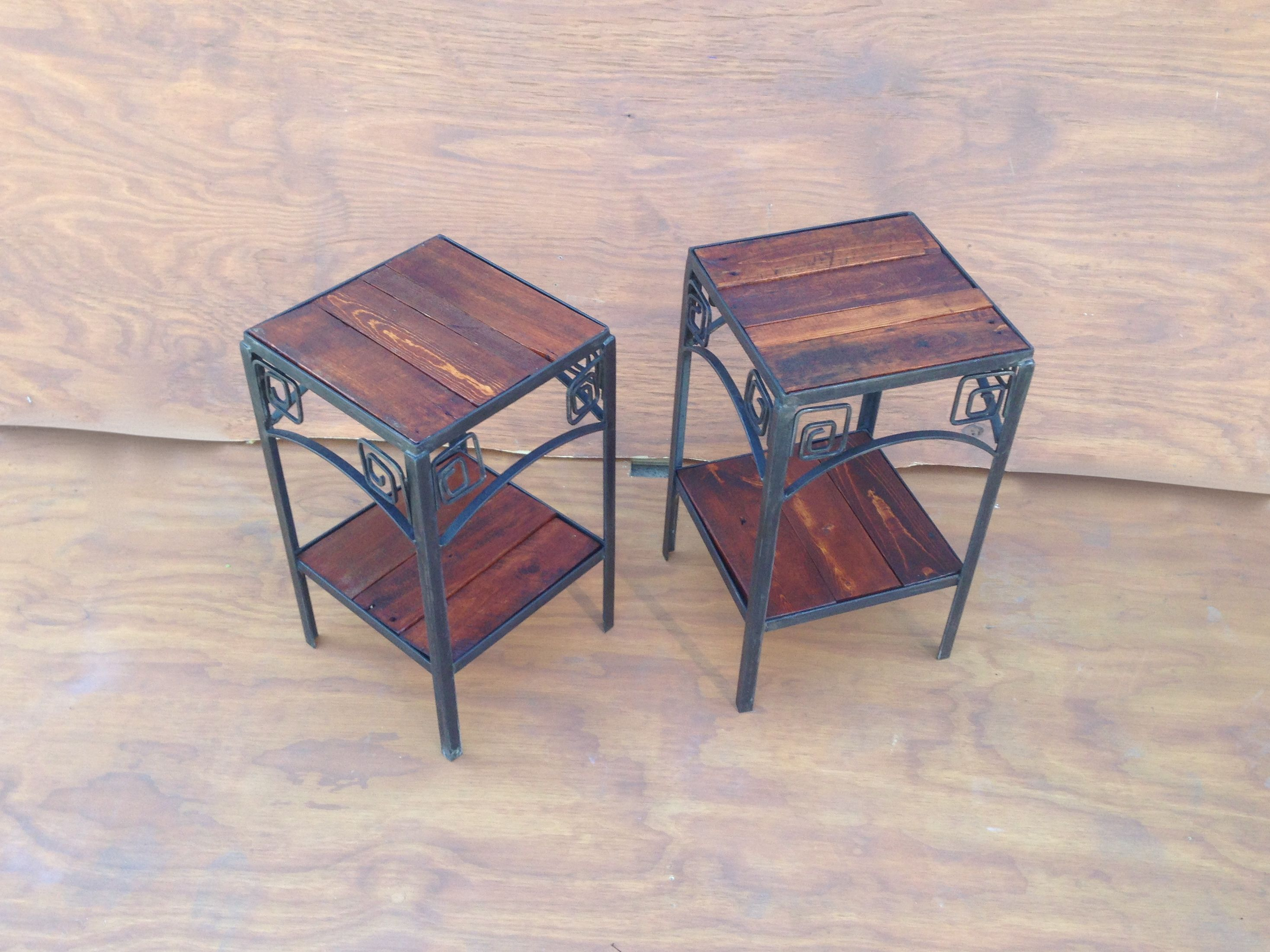 Pair Of Side Tables Fabricated By Steven Brock, Utilizing Pallet Wood  Sanded U0026 Stained,