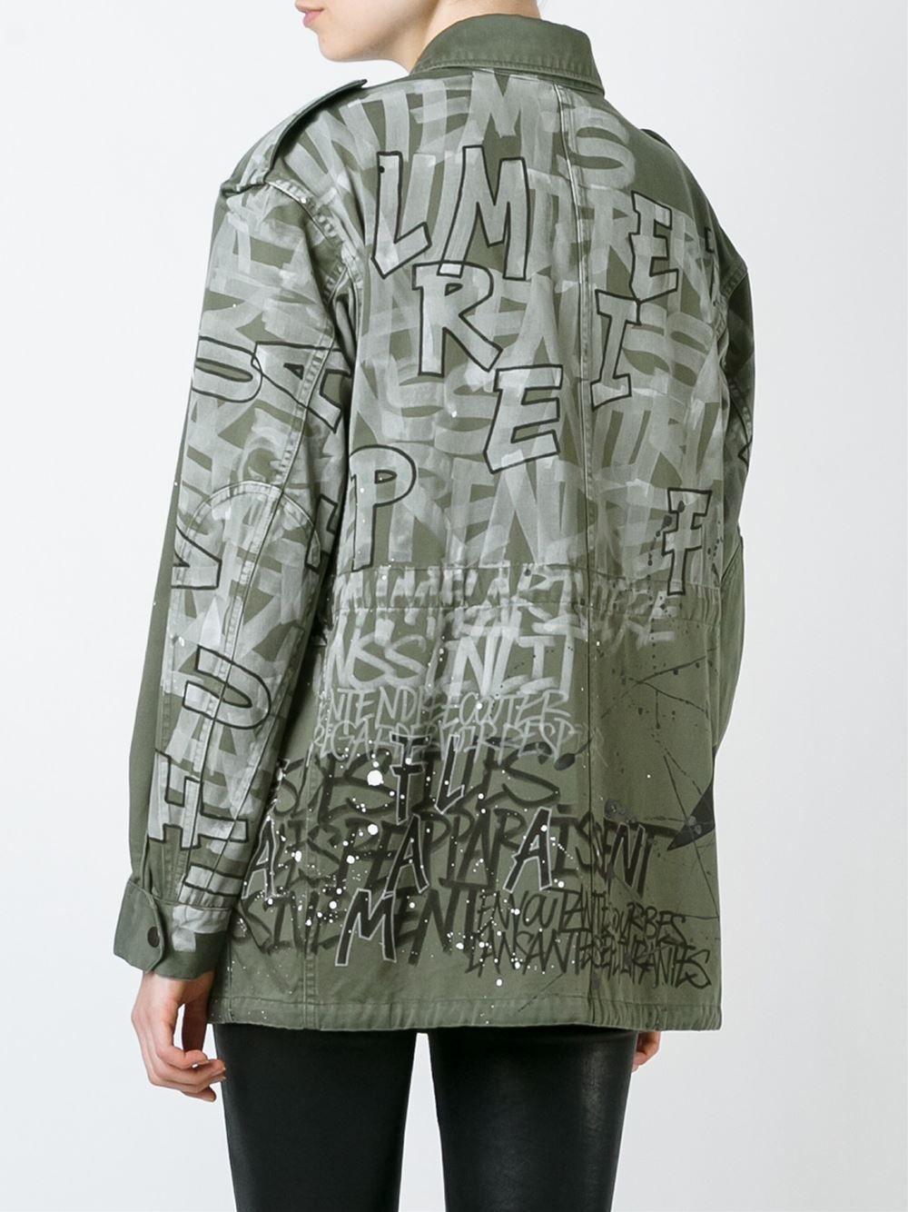 0864426c0c7 Faith Connexion - Graffiti Print Military Jacket Military Jacket Women