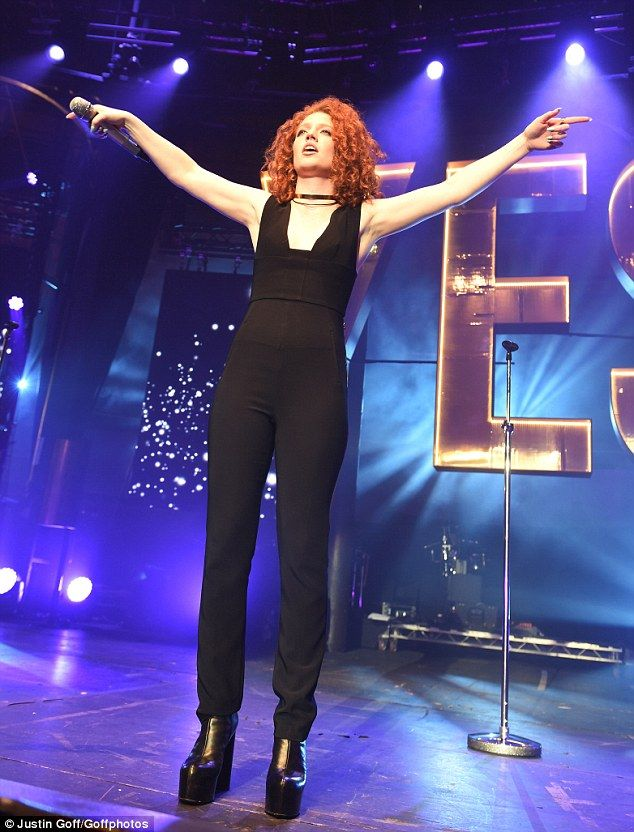 Work it: Jess gave it her all on stage as she belted out her hits