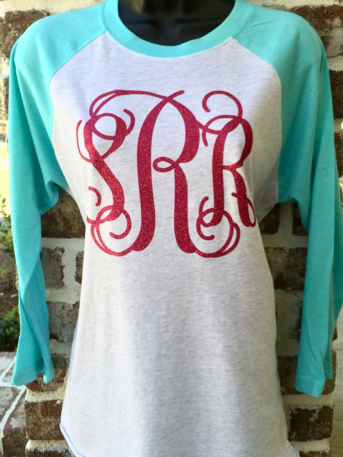 137364d80 Monogram Raglan Tee Shirt, Monogrammed Raglan Shirt, Monogram Baseball T  shirt, Women's Monogrammed Three Quarter Sleeve T shirt by  PoshPrincessBows1 on ...