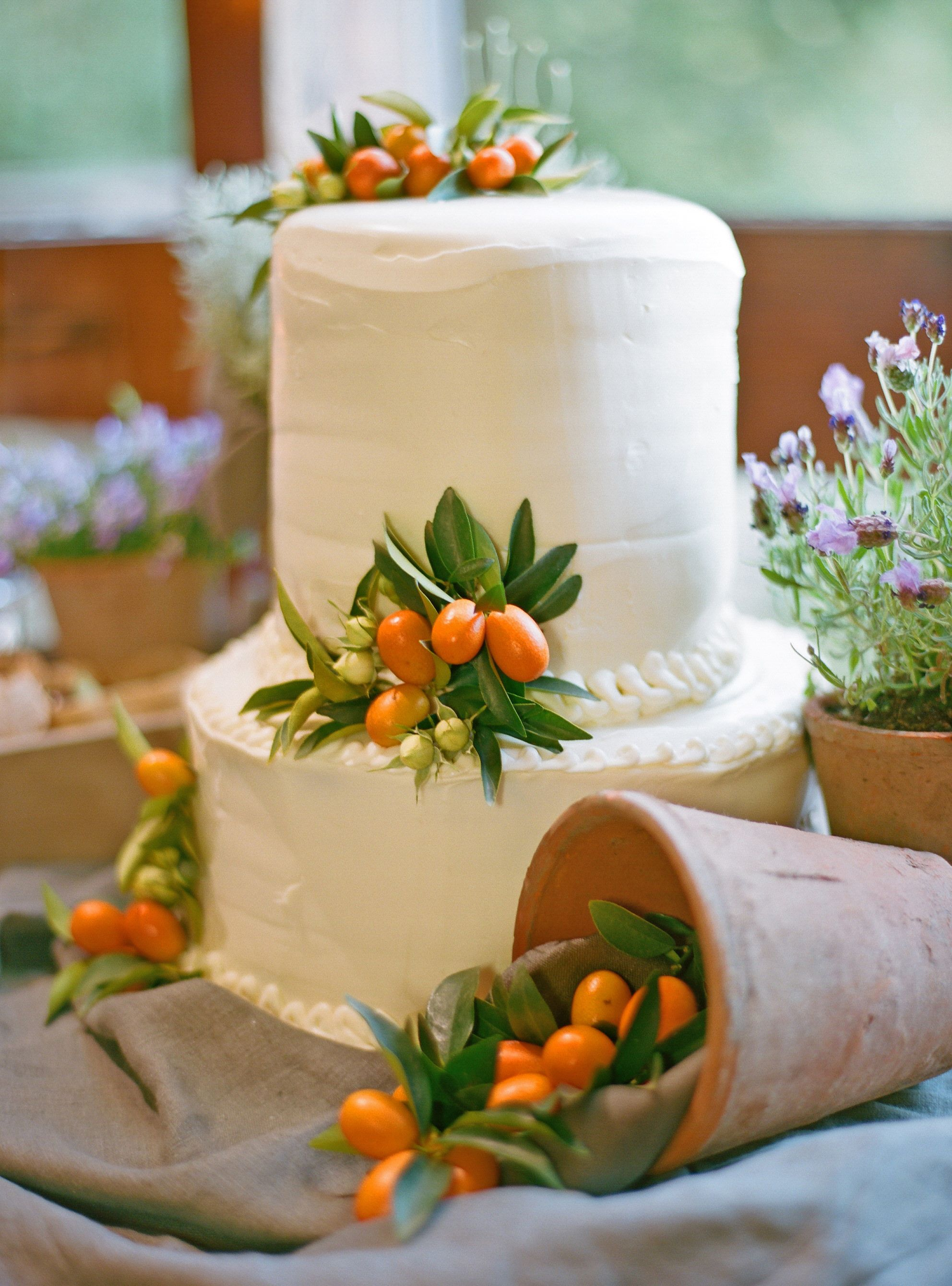 Simple white cake adorned with kumquats for our San Sebastian ...