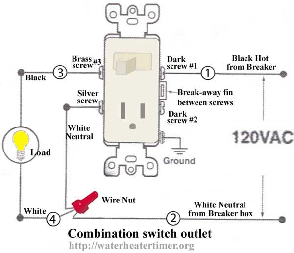 Switch Receptacle Combo Wiring - DIY Wiring Diagrams • on light switch from outlet diagram, switch outlet combo wiring-diagram, combination double switch diagram, switched outlet wiring diagram, switched receptacle diagram, electrical outlet wiring diagram,