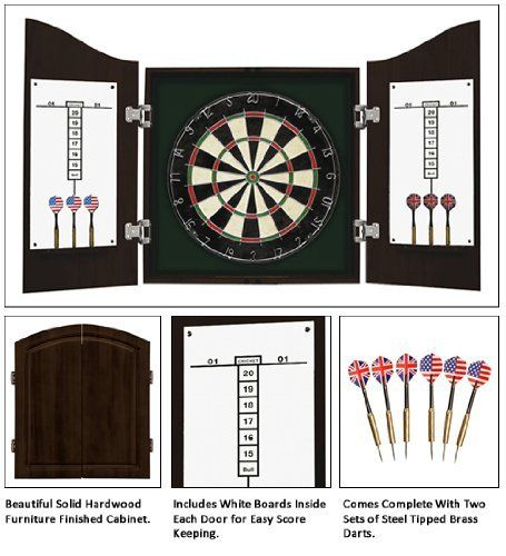 Harvil Deluxe Solid Wood Dartboard Cabinet Set By Harvil 102 90 Everything You Need To Play A High Stak Quality Cabinets Dart Board Cabinet Chalk Scoreboard