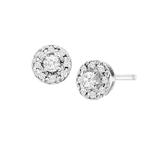 3ce303b1eb7d56 1/4 ct Diamond Round Halo Stud Earrings in Sterling Silver | Emma ...
