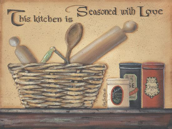 Primitive Decor Kitchen Seasoned With Love Country Framed Wall Art
