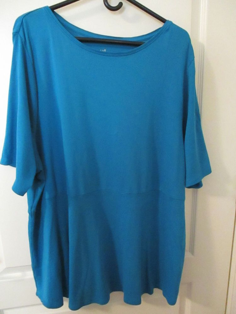 d5d65ab34b0 J.Jill 4X 100% pima cotton shirttail tee top short sleeves teal solid color   fashion  clothing  shoes  accessories  womensclothing  tops (ebay link)