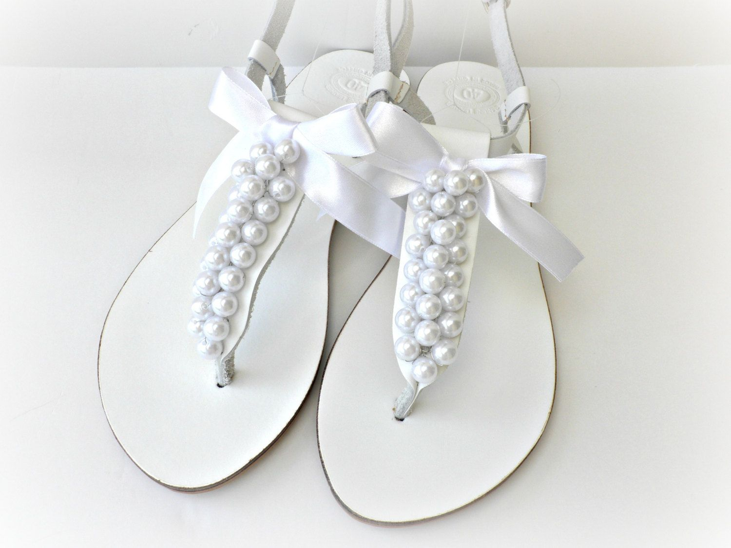 Wedding Leather Sandals White Decorated With Pearls Bridal Shoes