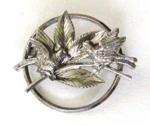 Carl-Art sterling silver brooch w/birds