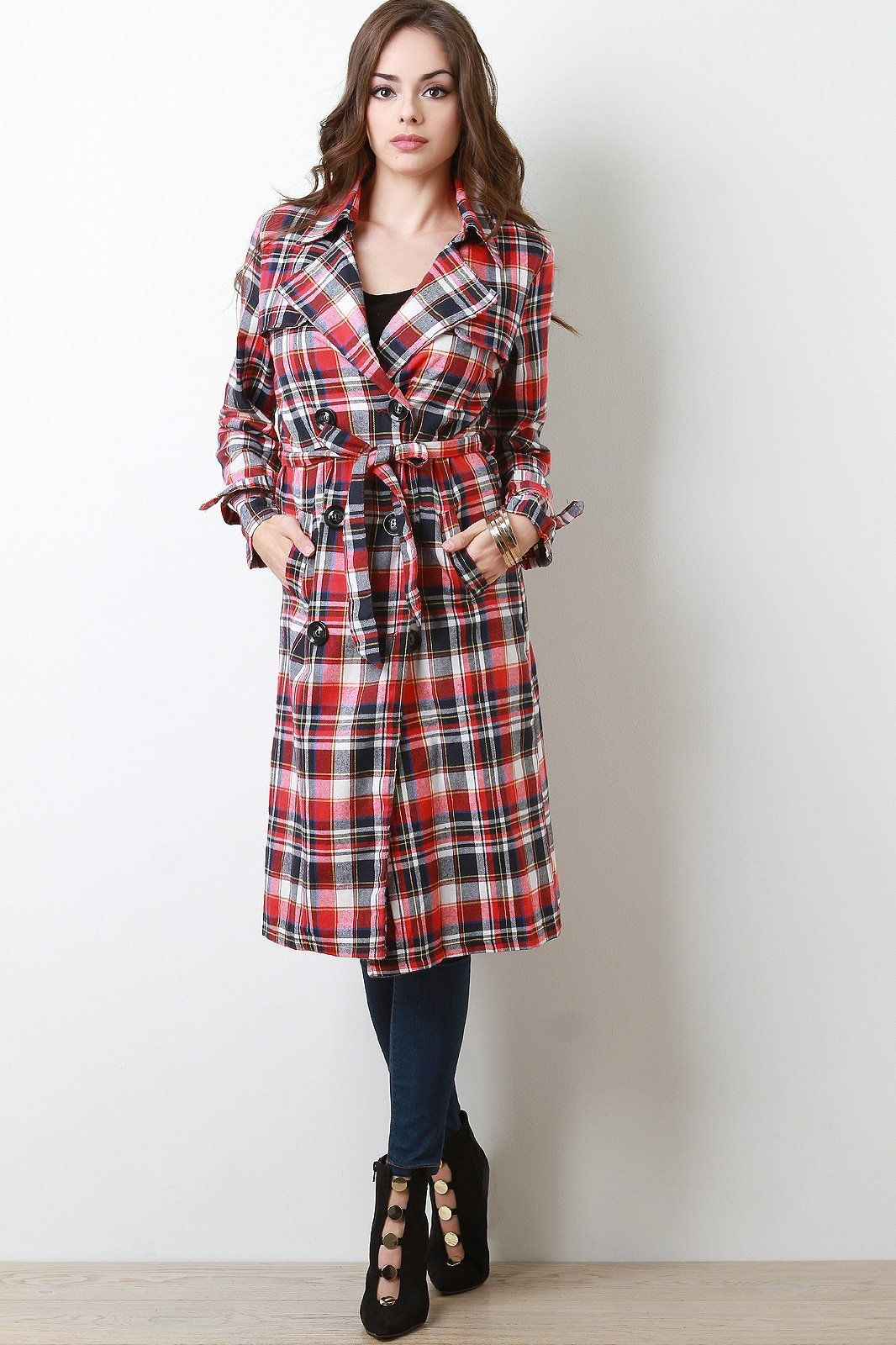 db8878fd60a Plaid Double Breasted Trench Coat