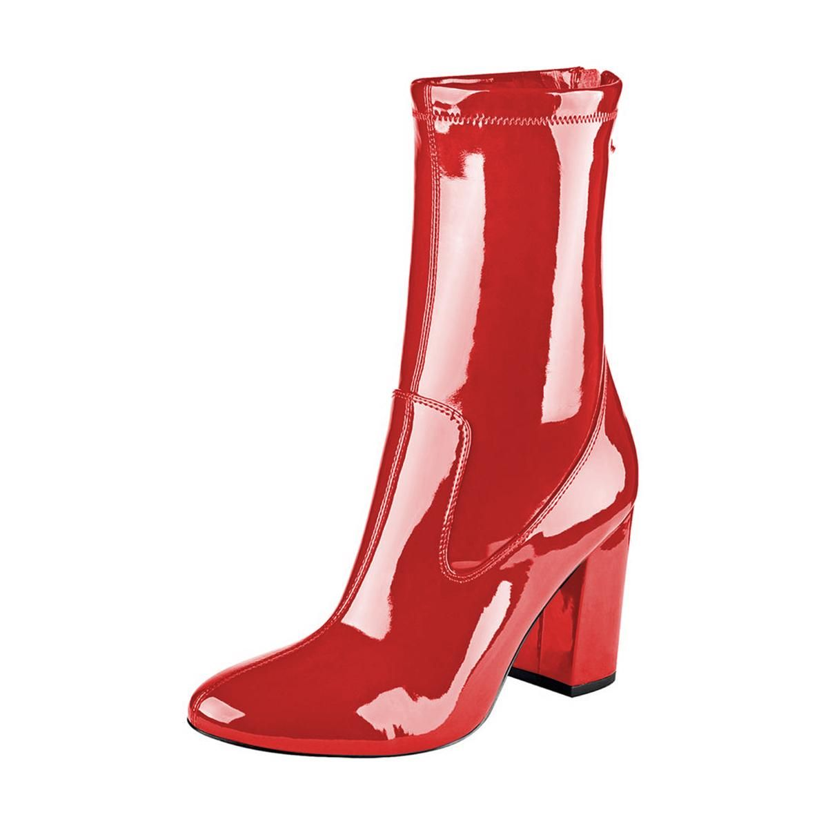 fb2ccf32755 Red Chunky Heel Boots 4 Inches Mirror Leather Round Toe Ankle Boots ...