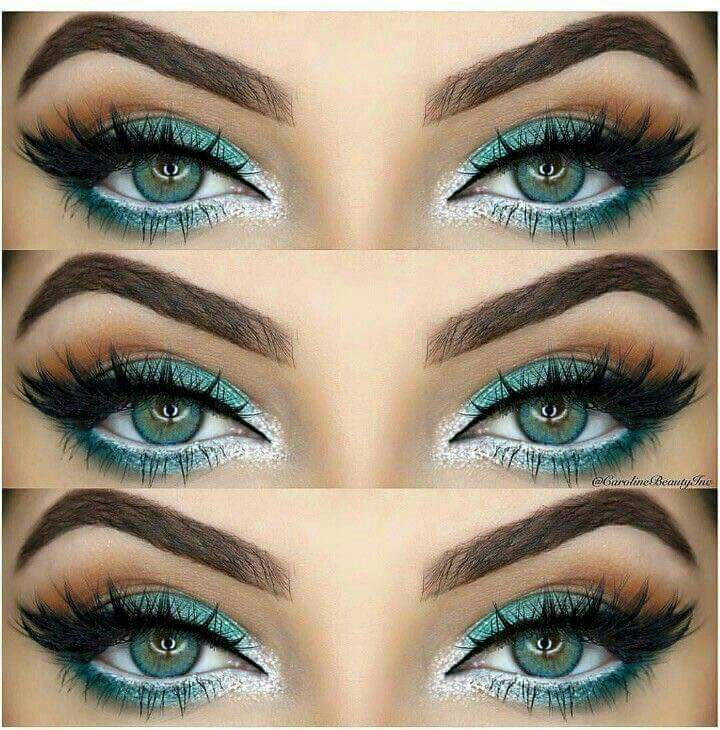 Teal And Silver Eye Makeup Makeup Hair In 2018 Pinterest