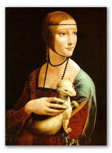 Lady With An Ermine By Da Vinci Oil Painting Reproduction Obras De Arte Pinturas Obras De Arte Famosas Arte Italiano