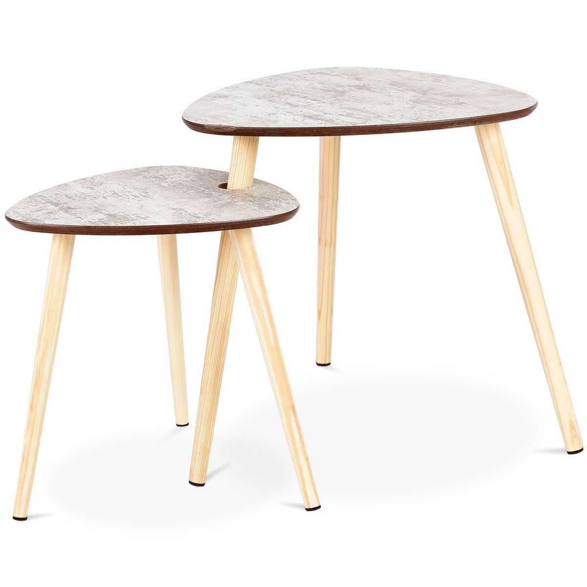 2 Pcs Living Room Nesting End Coffee Tables With Wooden Leg In