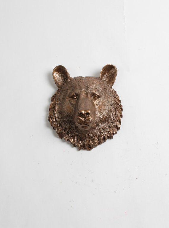 Bear Head Wall Mount The Maura Mini Bronze By Whitefauxtaxidermy