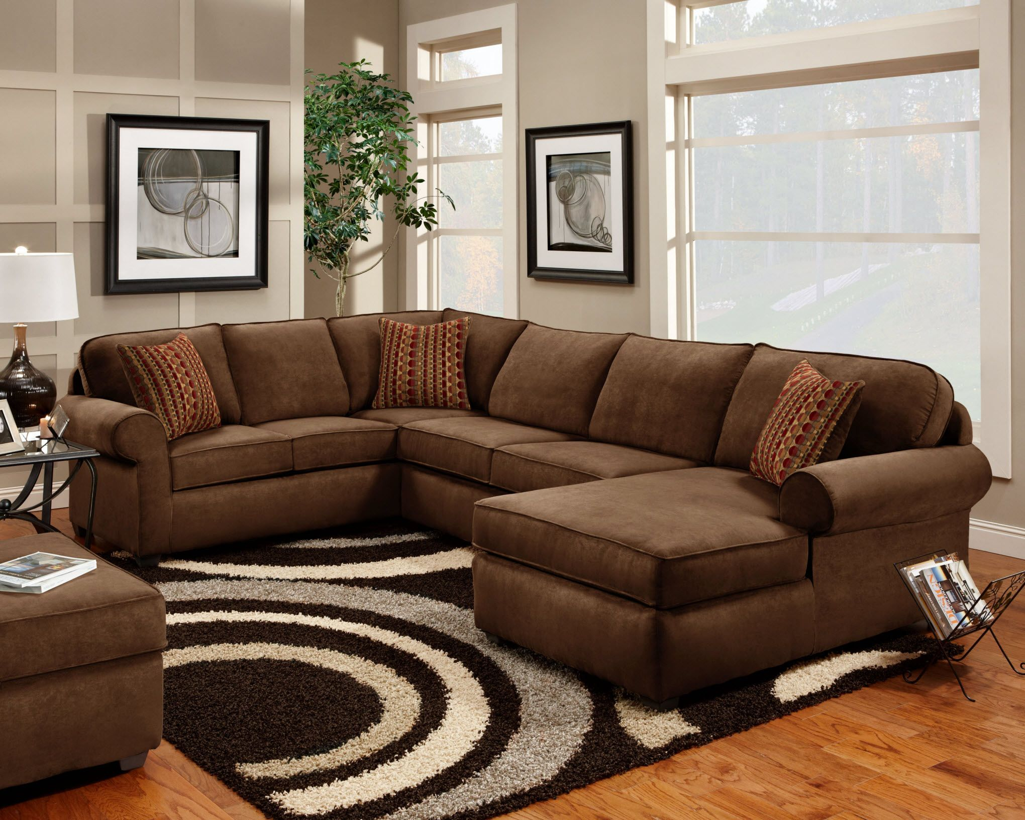 7070 Washington Flat Suede Chocolate Sectional