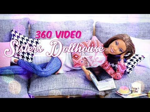 Interactive 360 Video: Inside the Sisters Dollhouse Sophie & Chloe watch the Darbie Show - YouTube