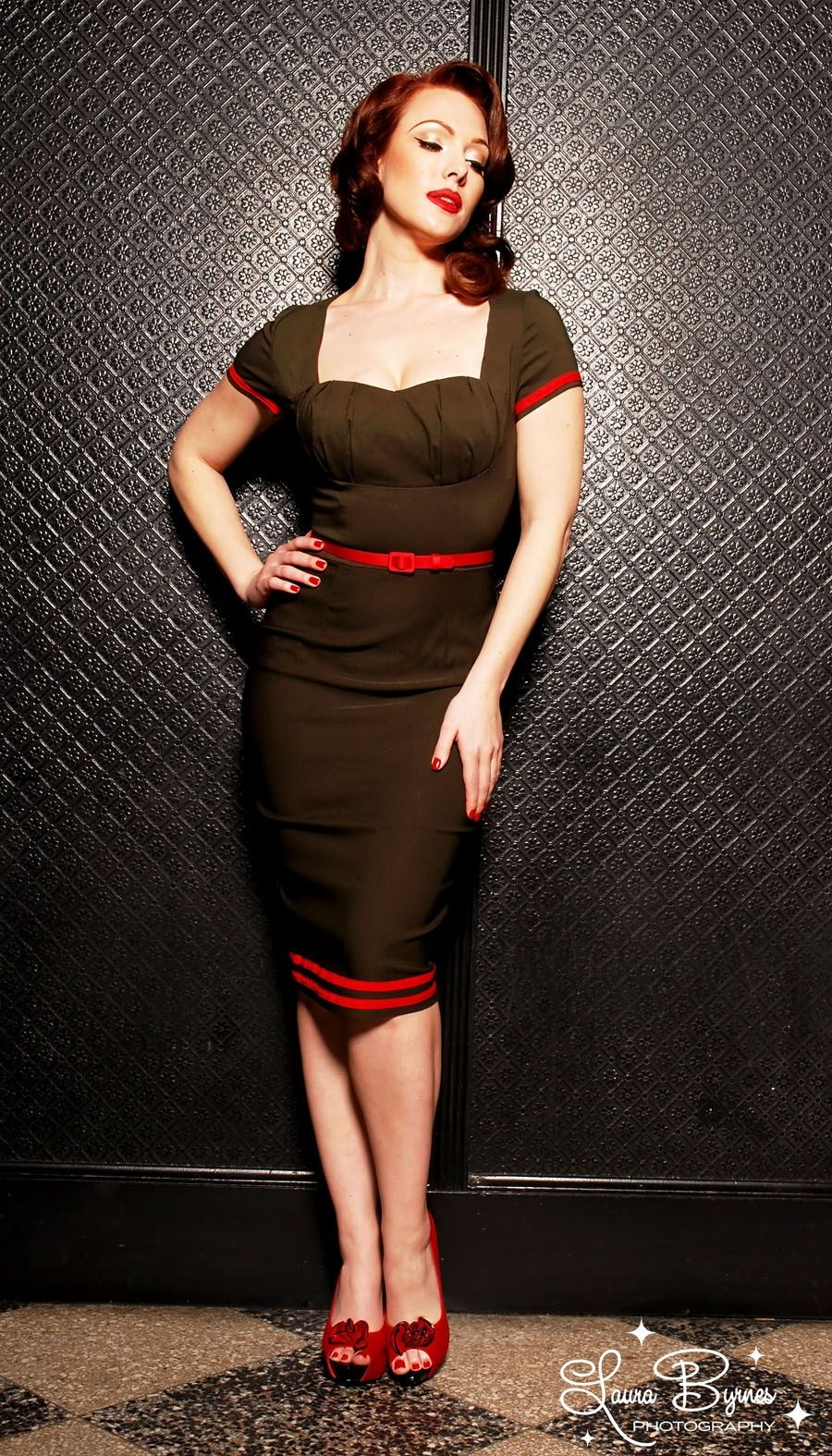 Pin Up Girl Clothing Com Military Pinup Dress In Olive Green With Red Details From Pinup
