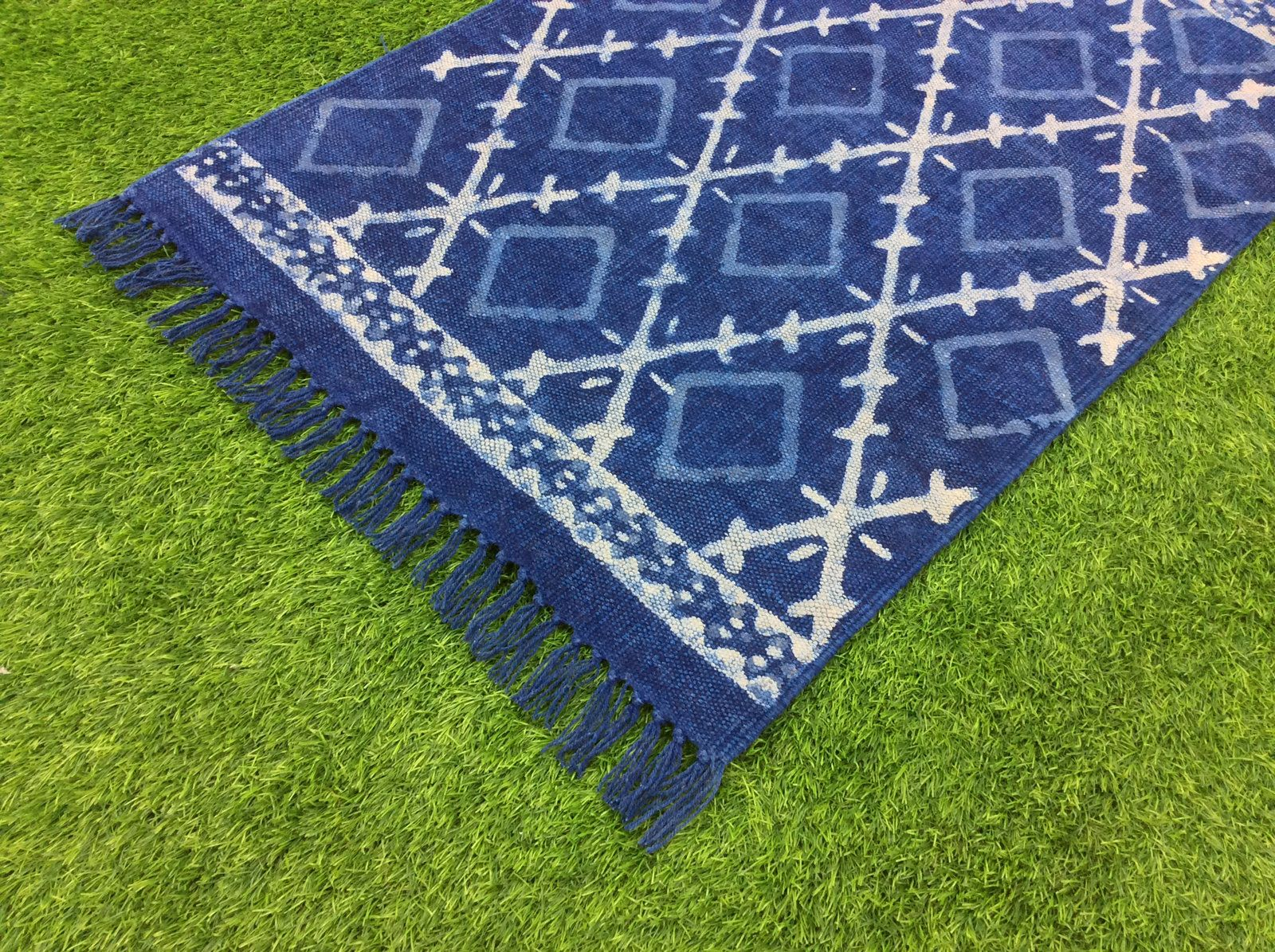 Indigo Blue Rug Handmade Cotton Floor Rug Carpet Runner Home Decorative Area Rug